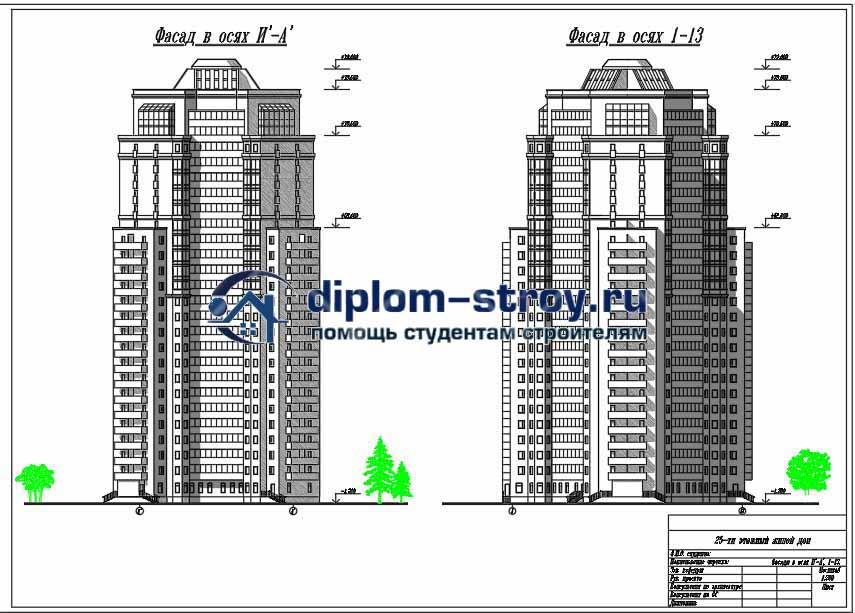 80. Дипломный проект 25-ти этажный монолитный жилой дом