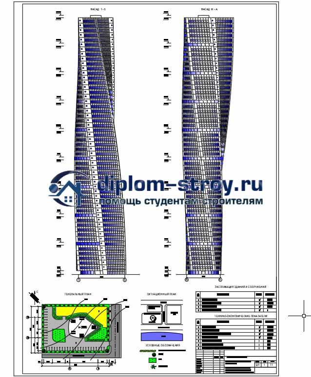 94. Дипломный проект монолитного многофункционального 54-этажного здания
